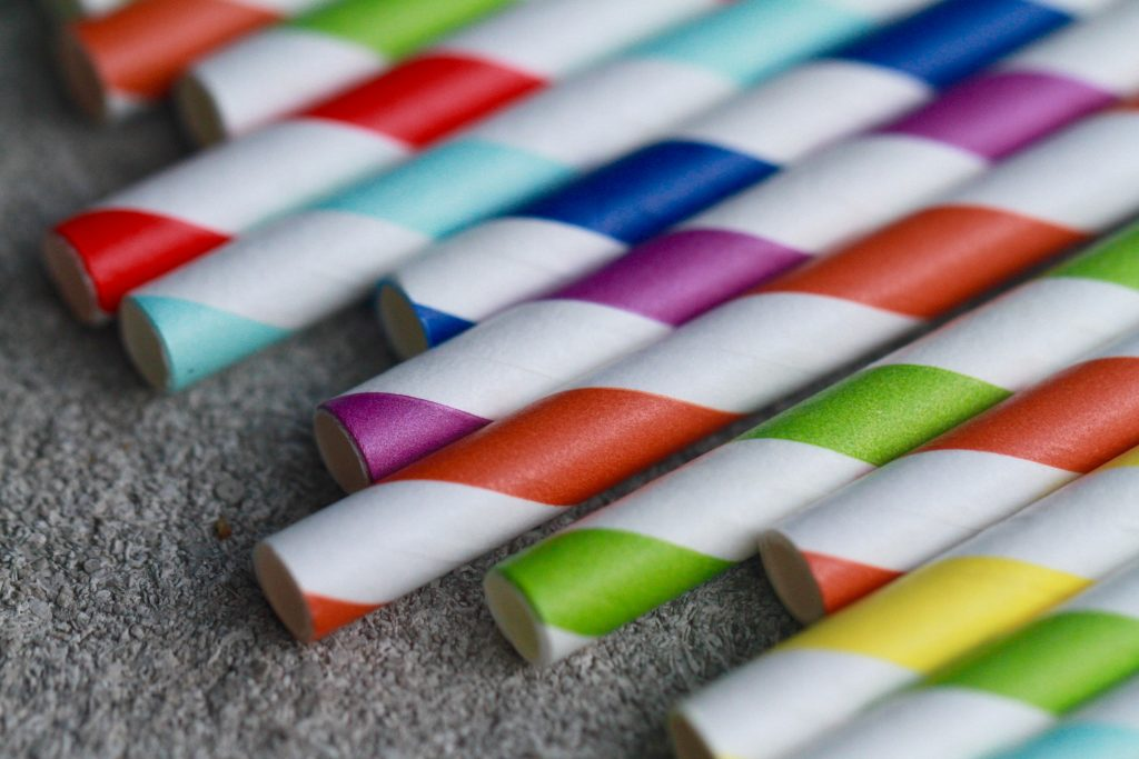 Picture of multi-coloured paper drinking straws