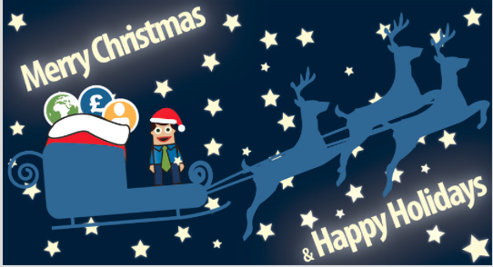 Cartoon image of a man wearing a santa hat and business clothes with a tie, standing on a sleigh with the words 'Merry Christmas & Happy Holidays' in the background