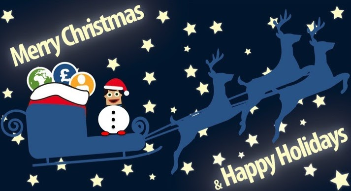 Cartoon image of a person with the body of a snowperson wearing a santa hat, standing on a sleigh with the words 'Merry Christmas & Happy Holidays' in the background