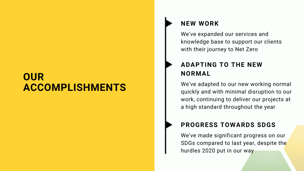 Our accomplishments - we've expanded our services and knowledge base, adapted to working from home, and made significant progress towards our SDGs.