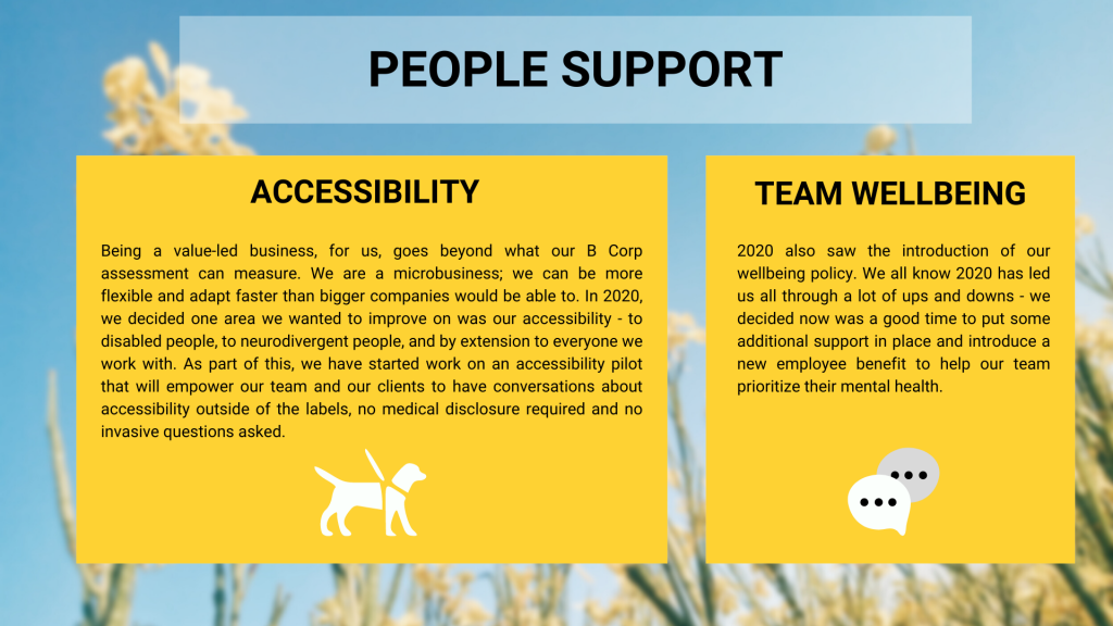 Being a value led business, we want to go beyond what our B Corp Assessment and SDG tracker can measure. For us, this currently means focusing on improving our accessibility through our accessibility pilot and by better supporting our team's mental health with our new wellbeing policy.
