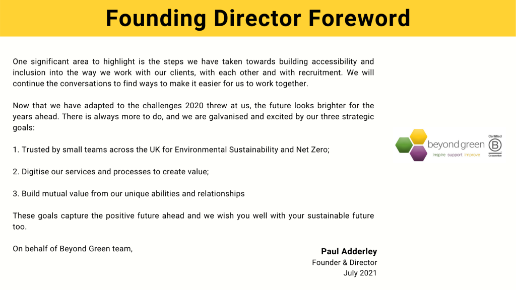 Founding Director Foreword continued