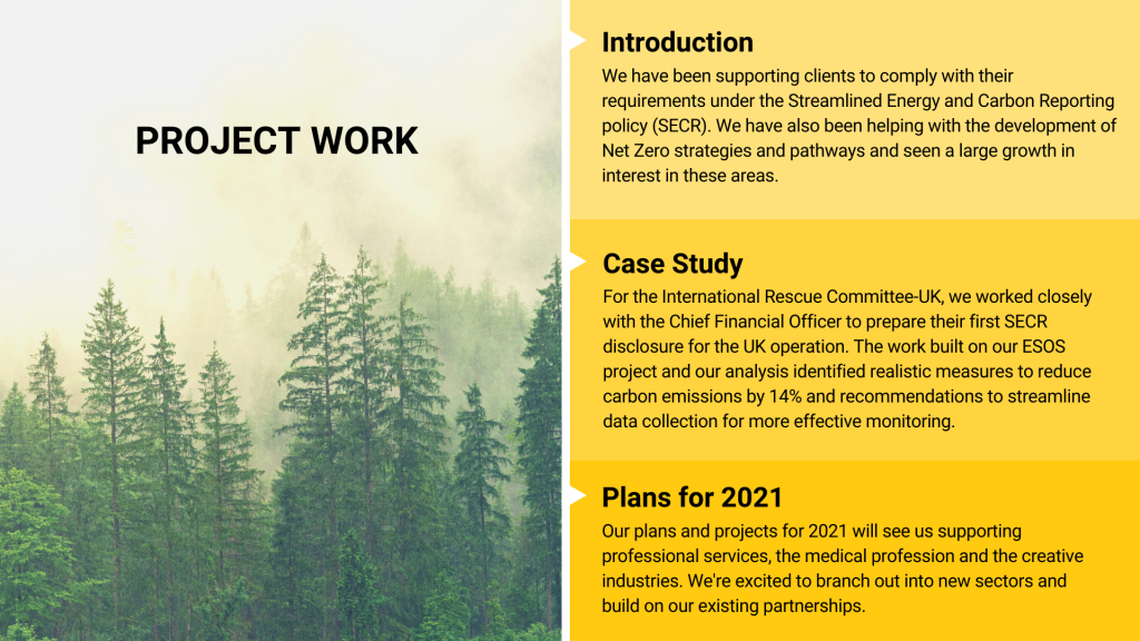 Project Work - We have been supporting our clients to comply with SECR and to develop Net Zero strategies. Our plans for 2021 see us branching out into new sectors as well as building on existing partnerships.